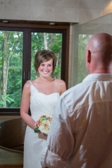 Bride seeing her Father for the first time on her wedding day